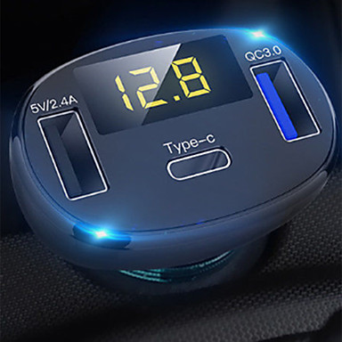 preiswerte Auto Elektronik-3-Ports-USB-Typ-C-Schnellladung Kfz-Ladegerät-Adapter führte Voltmeter / Auto Bluetooth FM-Funksender