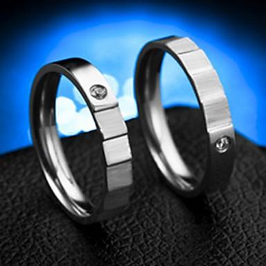 billige Ringer for Par-Par Band Ring Ring Tail Ring 2pcs Sølv Rustfritt Stål Sirkelformet Grunnleggende Mote Gave Daglig Smykker Smuk