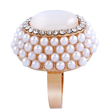 billige Motering-Dame Åpne Ring 1pc Hvit Chrome Oval Mote Elegant Daglig Smykker Blomst