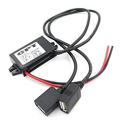 billige Strøminverterer-dc converter 12v til 5v dual usb kabelforbindelse strømforsyningsmodul bil strømadapter buck converter trapp ned strømforsyningsmodul dual kvinnelig usb output adapter for bil