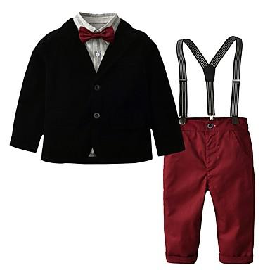 povoljno Odjeća za dječake-Djeca Dječaci Osnovni Jednobojni Dugih rukava Pamuk Komplet odjeće Red