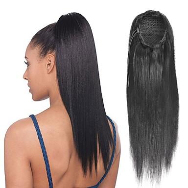 ύφανση μαλλιά Αλογορουρές Γυναικεία Φυσικά μαλλιά Κομμάτι μαλλιών Hair Extension Ίσιο 18χιλ Καθημερινά Ρούχα / Μαύρο