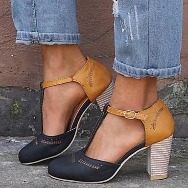 preiswerte Modische Sandalen-Damen High Heels Blockabsatz PU Frühling Sommer Schwarz / Grau / Blau