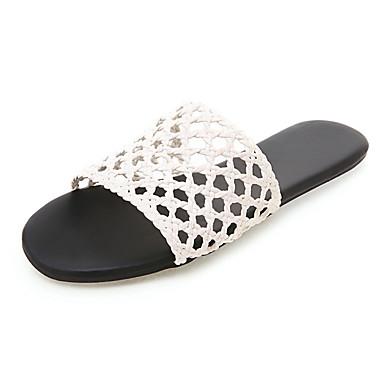 voordelige Damespantoffels & slippers-Dames Slippers & Flip-Flops Platte hak PU Herfst / Lente zomer Wit / Koffie / Lichtbruin
