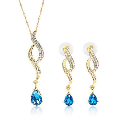 Dame Blå Grønn Kubisk Zirkonium Brude smykker sett geometriske Glede Stilfull Gullbelagt øredobber Smykker Grønn / Blå Til Fest Daglig 1set