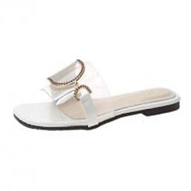 preiswerte Clearance-Damen Sandalen Flacher Absatz PVC Sommer Weiß / Gelb