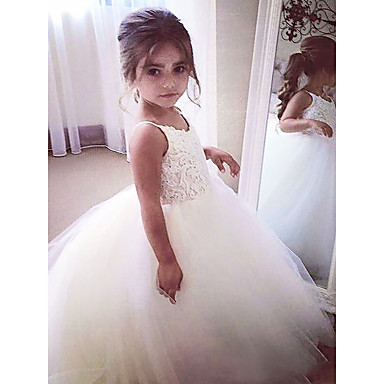 cheap Girls' Dresses-A-Line Floor Length Wedding / First Communion / Pageant Flower Girl Dresses - Satin / Tulle Sleeveless Jewel Neck with Appliques