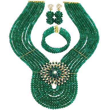 voordelige Dames Sieraden-Dames Ketting Oorbel Armband kralen Lucky Elegant Afrika oorbellen Sieraden Groen / Regenboog / Intens roze Voor Bruiloft Feest Lahja Dagelijks Festival 1 set