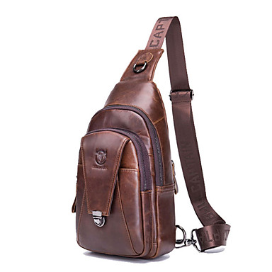 cheap BULLCAPTAIN®-(BULLCAPTAIN) Men's Leather Shoulder Crossbody Bag/Fashion Multifunctional Sports Casual Chest Bag