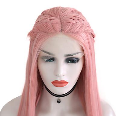 Συνθετικές μπροστινές περούκες δαντέλας Ίσιο Μέσο μέρος Δαντέλα Μπροστά Περούκα Ροζ Μακρύ Ροζ Συνθετικά μαλλιά 24 inch Γυναικεία Ρυθμιζόμενο Ανθεκτικό στη Ζέστη Πάρτι Ροζ