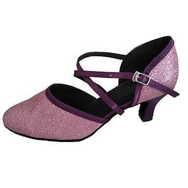 Dame Moderne sko / Ballett Sateng Høye hæler Gummi Kubansk hæl Dansesko Svart / Lilla