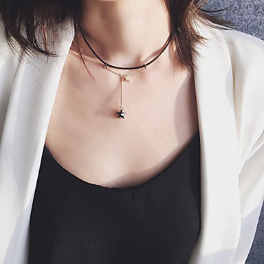 Γυναικεία Κολιέ Τσόκερ Γεωμετρική Stea Μοντέρνο Απλός Μοναδικό PU δέρμα Χρώμιο Μαύρο / Γκρι 33.5 cm Κολιέ Κοσμήματα 1pc Για Καθημερινά Δουλειά Φεστιβάλ
