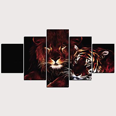 Εμπριμέ Κυλινδρικές καμβά εκτυπώσεις - Ζώα Κλασσικό Μοντέρνα Πεντάπτυχα Εκτυπώσεις τέχνης