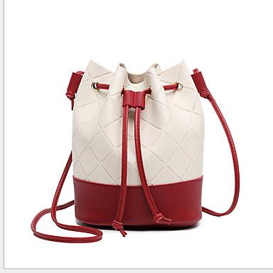 Γυναικεία PU Σταυρωτή τσάντα Συνδυασμός Χρωμάτων Μαύρο / Ανθισμένο Ροζ / Ρουμπίνι