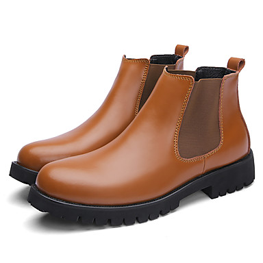 Herre Combat-boots Lær Vår sommer Vintage / Britisk Støvler Gange Bruk bevis Støvletter Svart / Brun / Kontor og karriere