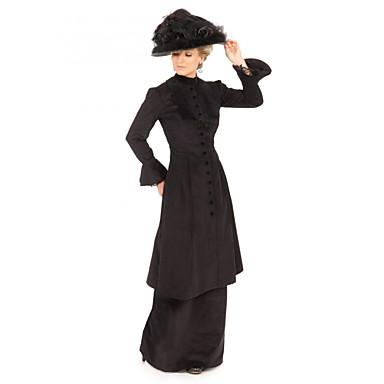 hertuginne Victoriansk Ballkjole 1910 Edwardian Kjoler Party-kostyme Dame Kostume Svart Vintage Cosplay Maskerade Langermet Gulvlang Store størrelser / Genser / Bukser / Genser / Bukser