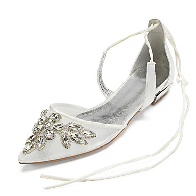 cheap Wedding Shoes-Women's Wedding Shoes Lace up Flat Heel Pointed Toe Rhinestone / Sparkling Glitter / Sequin Satin / Mesh Vintage / British Spring & Summer Champagne / White / Ivory / Party & Evening