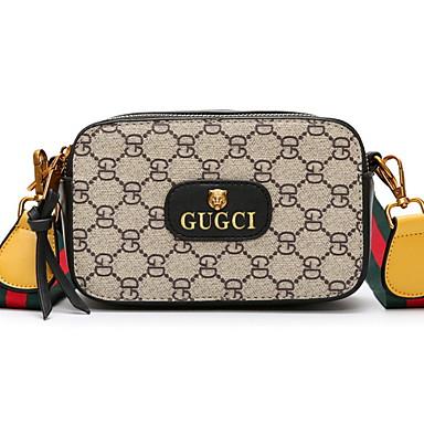 cheap Crossbody Bags-Women's Zipper PU(Polyurethane) / PU Crossbody Bag Geometric Pattern Black / Brown / Red