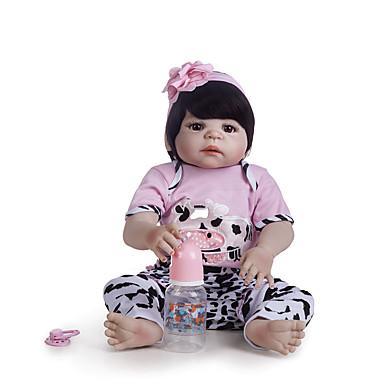 Reborn-dukker Babyjenter 22 tommers Full Body Silicone - Barn / Ungdommer Barne Unisex Leketøy Gave