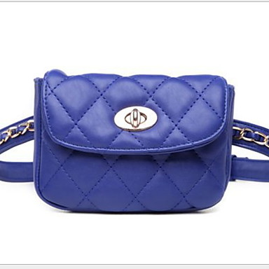 Mulheres Corrente PU Bolsa de Cintura Côr Sólida Preto / Branco / Azul