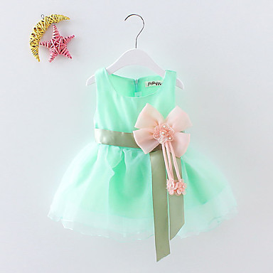 Baby & Kids-Baby Girls' Sweet Party / Birthday / Festival Solid Colored Bow / Flower / Layered Sleeveless Cotton Dress Green / Toddler