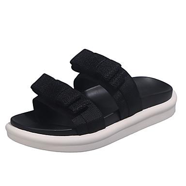 voordelige Damespantoffels & slippers-Dames Slippers & Flip-Flops Platte hak Open teen Netstof Informeel Wandelen Zomer Zwart / Koffie / Groen