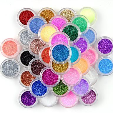 preiswerte Nagel Strass & Dekorationen-45 Farben Lidschatten Make-up Nail Art Pigment Glitzer Staub Pulver Set