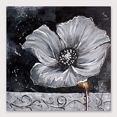 Hang malte oljemaleri Håndmalte - Blomstret / Botanisk Moderne Inkluder indre ramme