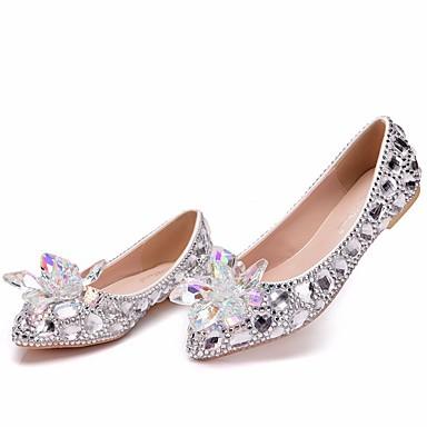 Dame bryllup sko Flat hæl Spisstå Krystall / Gummi PU Søt / minimalisme Vår sommer / Høst vinter Sølv / Regnbue / Bryllup / Fest / aften