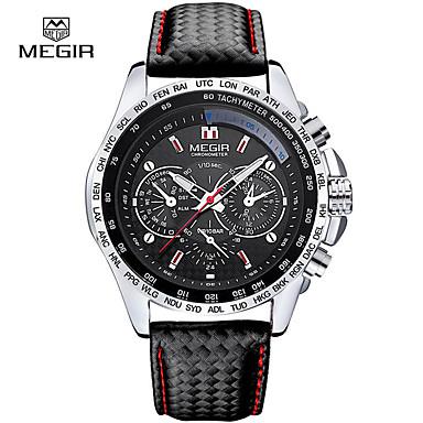 levne Pánské-megir muži křemen hodinky luxusní kožené sportovní hodinky hodiny hodiny křemen hodinky