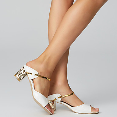 cheap Women's Autumn Shoes Great Deal-Women's Sandals Chunky Heel Open Toe PU(Polyurethane) Comfort Summer Gold / White / Silver / EU36