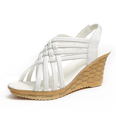 Mulheres Sandálias Salto Plataforma Peep Toe Couro Ecológico Casual Caminhada Primavera Verão / Outono & inverno Preto / Branco / Marron