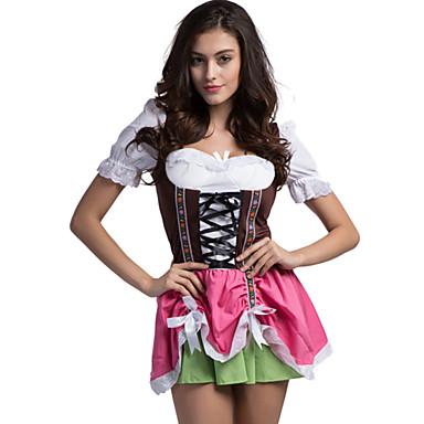 Oktoberfest Dirndl Trachtenkleider Mulheres Vestido Bávaro Ocasiões Especiais Rosa