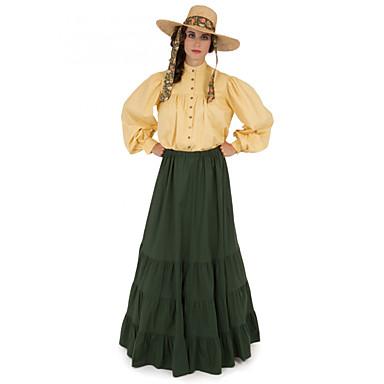 Δούκισσα Victorian Τουαλέτα 1910s Edwardian Φορέματα Κοστούμι πάρτι Γυναικεία Στολές Πράσινο Πεπαλαιωμένο Cosplay Μασκάρεμα Μακρυμάνικο Μακρύ Μακρύ Μήκος Μεγάλα Μεγέθη / Μπλούζα / Φόρεμα / Μπλούζα