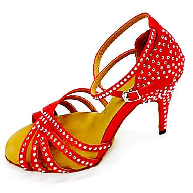 Γυναικεία Παπούτσια Χορού Σατέν Παπούτσια χορού λάτιν Κρύσταλλο / Στρας Τακούνια Λεπτή ψηλή τακούνια Εξατομικευμένο Κόκκινο Ανοικτό / Μπλε / Επίδοση / Δέρμα / Εξάσκηση