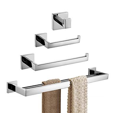 rustfritt stål 4-delt bad maskinvare sett veggmonterte baderomsholdere sett moderne håndkle barer sett, børstet finish