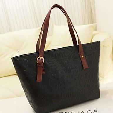 cheap Top Handles & Tote Bags-Women's Zipper PU(Polyurethane) / PU Tote Black / Fuchsia / Orange
