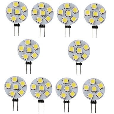10pcs 1 W LED Φώτα με 2 pin 120 lm G4 6 LED χάντρες SMD 5050 Άσπρο Ζεστό κίτρινο 12 V