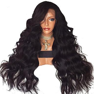 Συνθετικές μπροστινές περούκες δαντέλας Κυματιστό Πλευρικό μέρος Δαντέλα Μπροστά Περούκα Μακρύ Μαύρο Συνθετικά μαλλιά 18-26 inch Γυναικεία Ρυθμιζόμενο Ανθεκτικό στη Ζέστη Πάρτι Μαύρο