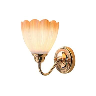 1-lys vegg sconce blomst glass skygge gullfinish metall vegg lys soverom stue korridor gangvegg belysning