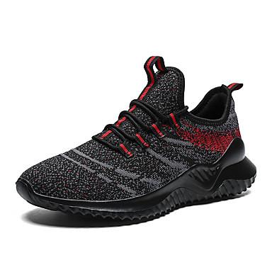 Ανδρικά Παπούτσια άνεσης Ελαστικό ύφασμα / Φουσκωτό πηνίο Καλοκαίρι Αθλητικό Αθλητικά Παπούτσια Τρέξιμο Μη ολίσθηση Συνδυασμός Χρωμάτων Μαύρο / Κόκκινο / Γκρίζο / Χακί