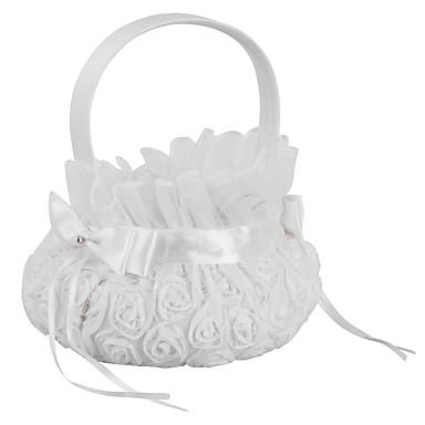 Yiwu ho10701169h4 γάμου προμήθειες λουλούδι κορίτσι πλάκα κεντήματος λευκό καλάθι