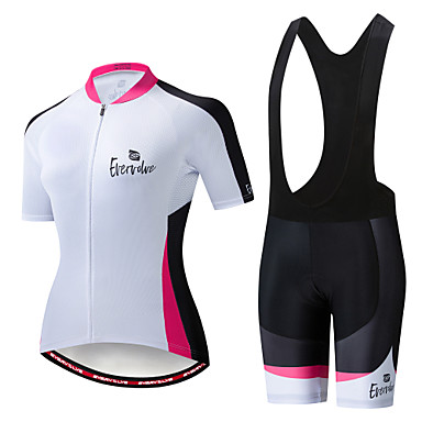 EVERVOLVE Γυναικεία Κοντομάνικο Αθλητική φανέλα και σορτς ποδηλασίας Μαύρο Λευκό Ποδήλατο Ρούχα σύνολα Αναπνέει Ύγρανση Γρήγορο Στέγνωμα Ανατομικός Σχεδιασμός Αθλητισμός Βαμβάκι Λίκρα Γεωμετρία
