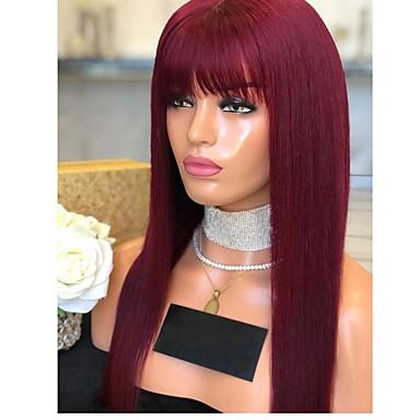 povoljno Perike i ekstenzije-Prednja perika od sintetičkog čipke Prirodno ravno Uredne šiške Lace Front Perika Dug Crna Tamno crvena Sintentička kosa 18-26 inch Žene Prilagodljiv Otporan na toplinu Party Crvena Crna / Doll Wig
