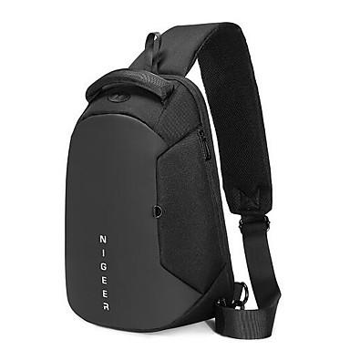 저렴한 Sling Shoulder Bags-남성용 체인 옥스퍼드 섬유 / PVC 슬링 어깨 가방 블랙 / 그레이