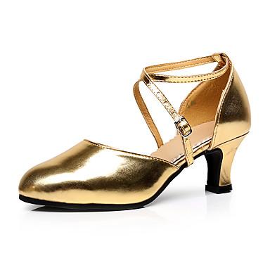 Dame Moderne sko / Ballett Fuskelær Cross Strap Høye hæler Kubansk hæl Kan spesialtilpasses Dansesko Svart / Gull / Sølv / Ytelse / Trening