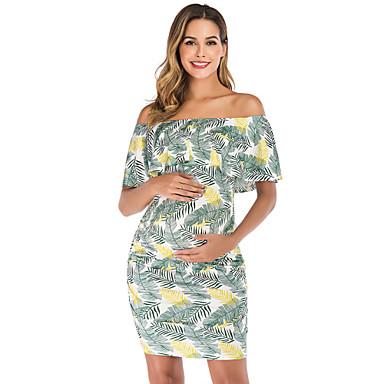 cheap Baby & Kids-Women's Maternity Above Knee Sheath Dress Blue Green XL XXL XXXL