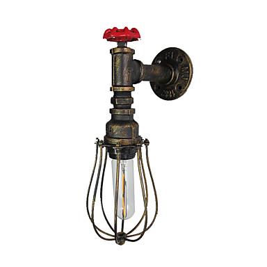 antikk vegglampe vannrør design 1 lys industriell edison vegg sconces edison pære natt belysning amerikansk enkelhet vegg lamper med ledning bure for gangen gangen gangen