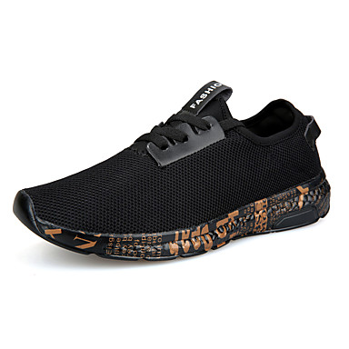 Homens Sapatos Confortáveis Com Transparência Primavera / Outono Esportivo / Casual Tênis Corrida / Caminhada Respirável Slogan Preto e Dourado / Black / azul