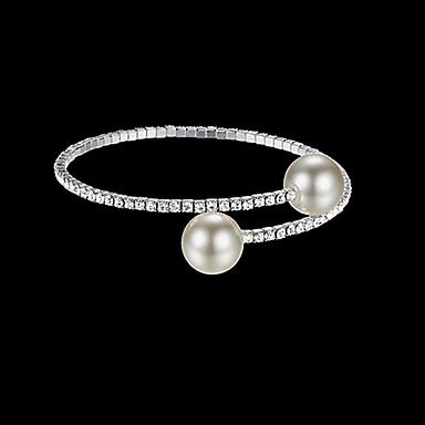levne Dámské šperky-Dámské Kotníkové náramky Náramek Tenisový řetězec Twist Circle Jednoduchý Luxus Evropský Módní Elegantní Napodobenina perel Náramek šperky Zlatá / Stříbrná Pro Svatební Párty Dar Denní Práce